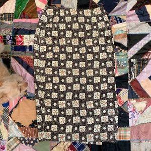 Vintage 80s ECRU Hawaiian Pattern Midi Skirt